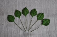 DARK GREEN Oval Rhamboidal (20mm) Mulberry Paper Leaves